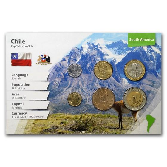 Chile 1 Peso - 500 Pesos 6-Coin Set BU (Landscape Packaging)