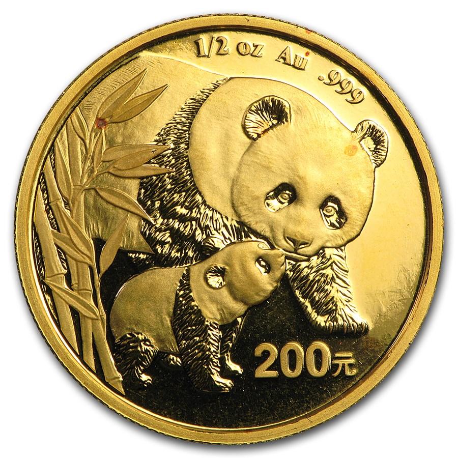 China 1/2 oz Gold Panda BU (Random Year, Not Sealed)