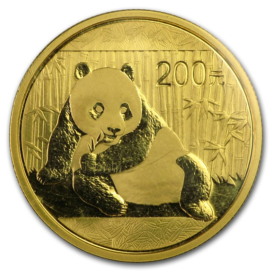 China 1/2 oz Gold Panda BU (Random Year, Sealed)