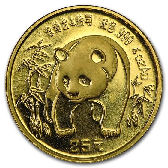 China 1/4 oz Gold Panda BU (Random Year, Not Sealed)