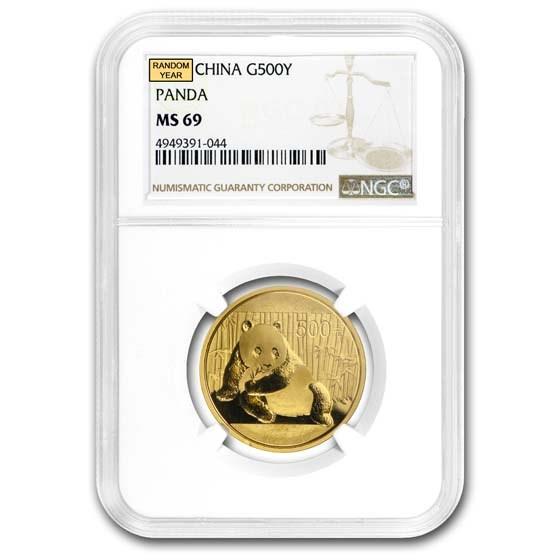 China 1 oz Gold Panda MS-69 NGC (Random Year)