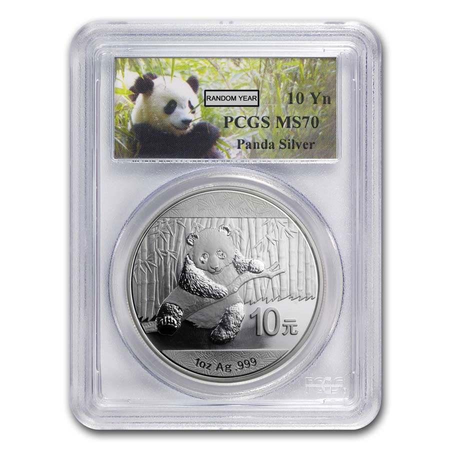 China 1 oz Silver Panda MS-70 PCGS (Random Year)