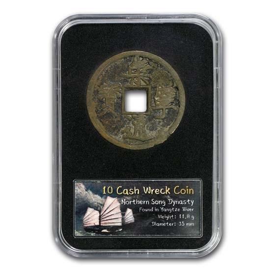 China 10 Cash Emperor Hui Tsung Yangtze River Shipwreck