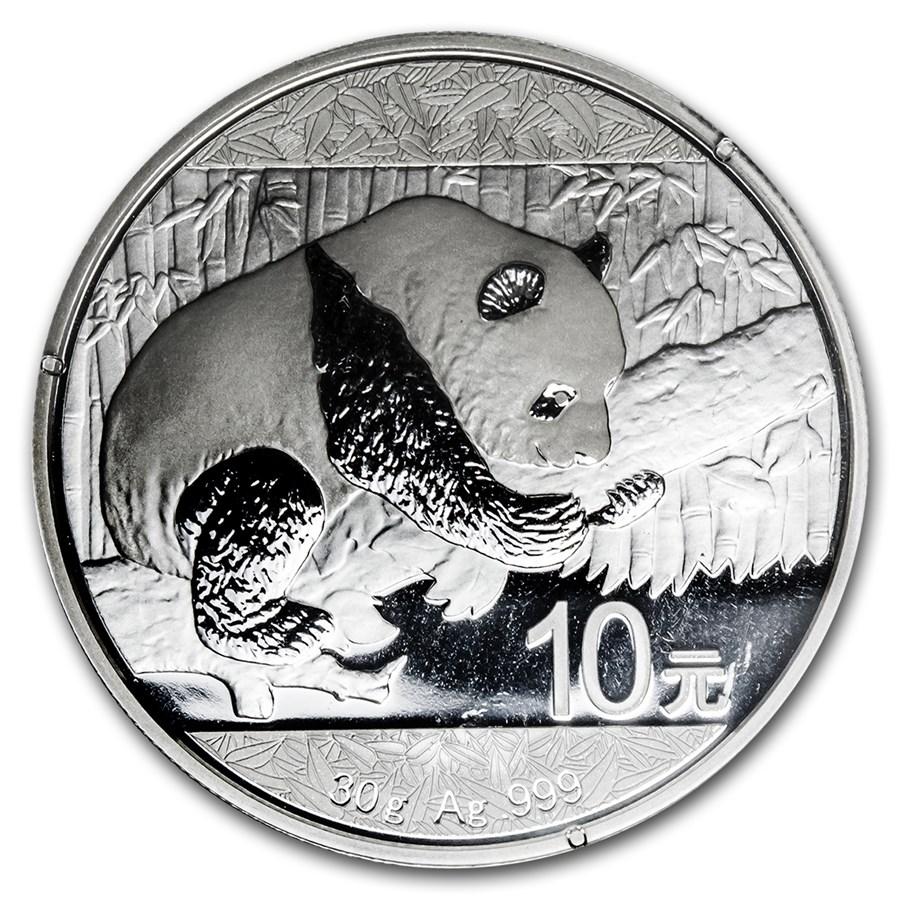 China 30 gram Silver Panda BU (Random, Spotted, Abrasions)