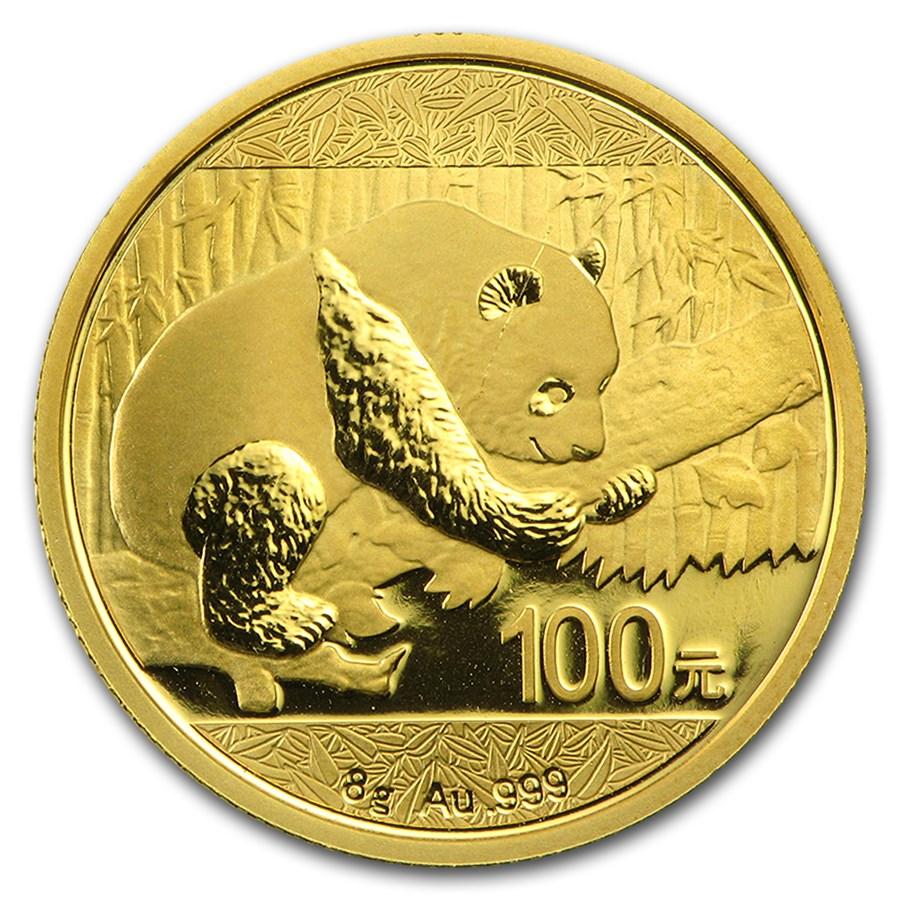 China 8 gram Gold Panda BU (Random Year, Not Sealed)