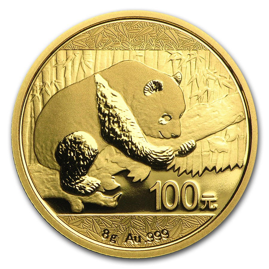 China 8 gram Gold Panda BU (Random Year, Sealed)