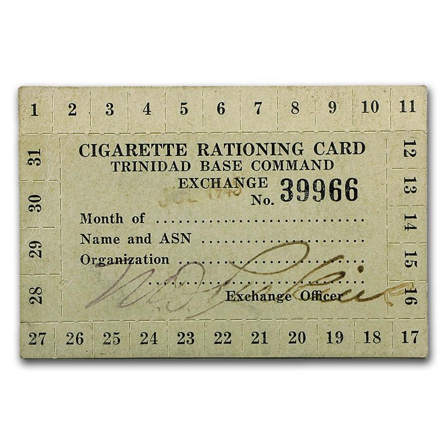 Circa World War II - Cigarette Rationing Card