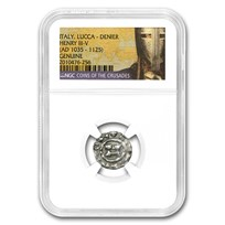 Coins of the Crusades Lucca Italy Silver Denier Genuine NGC
