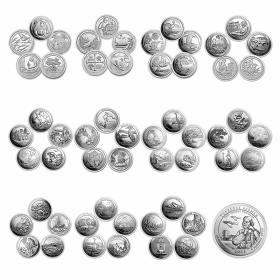 Complete 56-Coin 5 oz Silver America The Beautiful Set