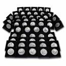 Complete 56-Coin Burnished 5 oz Silver ATB Set (w/Box & COA)