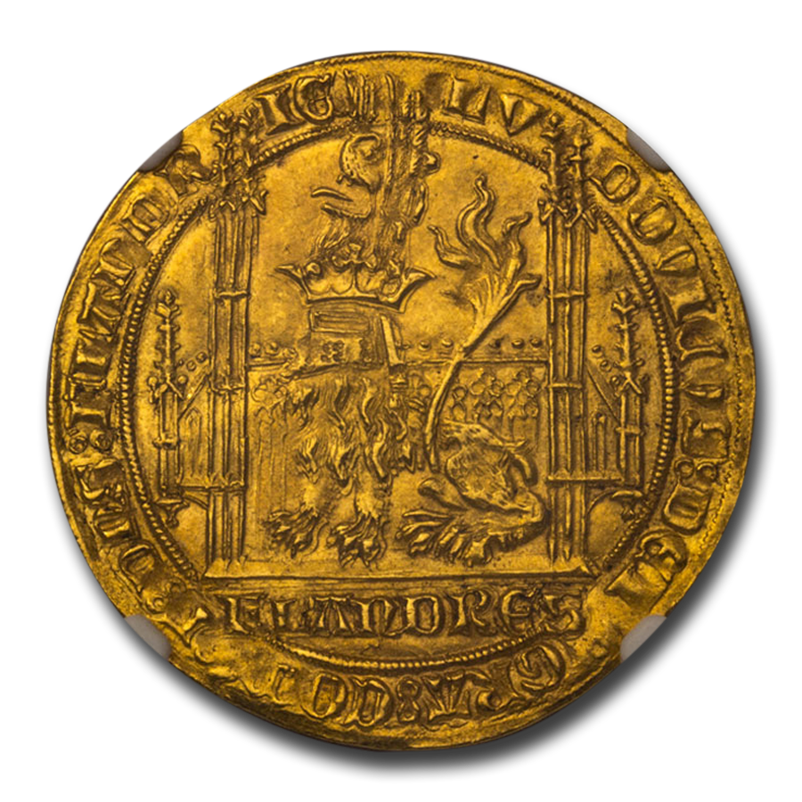County of Flanders Gold AV Lion d'Or (1346-84 AD) MS-64 NGC