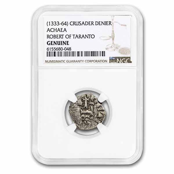 Crusader States Frankish Greece AR Denier (1333-1364 AD) NGC