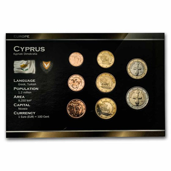 Cyprus 1 Cent-2 Euro 8-Coin Euro Set BU