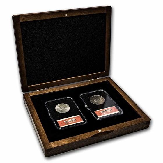 Czechoslovakia Joseph Stalin Silver 2-Coin + Stamp Set BU