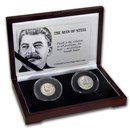 Czechoslovakia/Russia Silver 2-coin Joseph Stalin Set Avg Circ