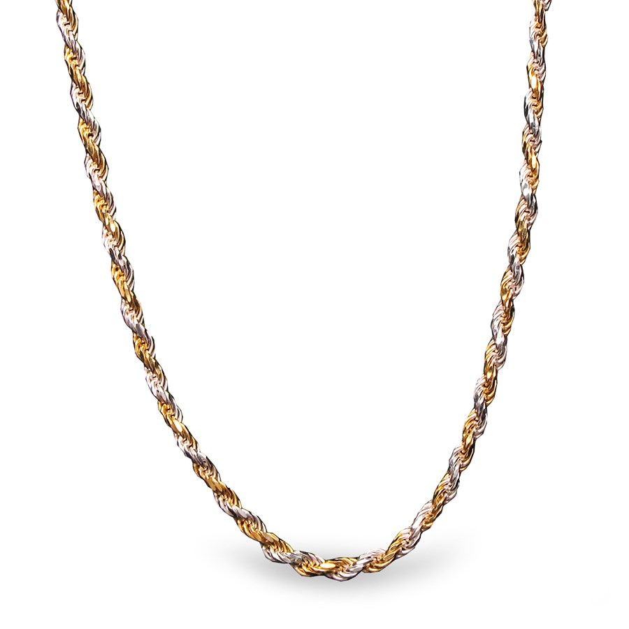 Diamond Cut Rope Sterling Silver Bi-Color Necklace - 20 in