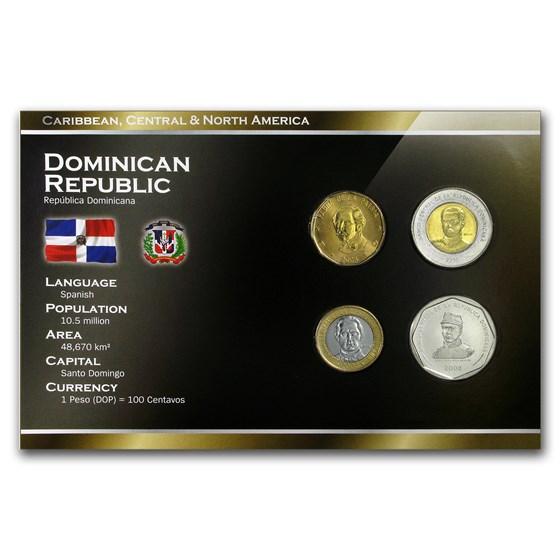 Dominican Republic 1 Peso - 25 Pesos 4-Coin Set BU