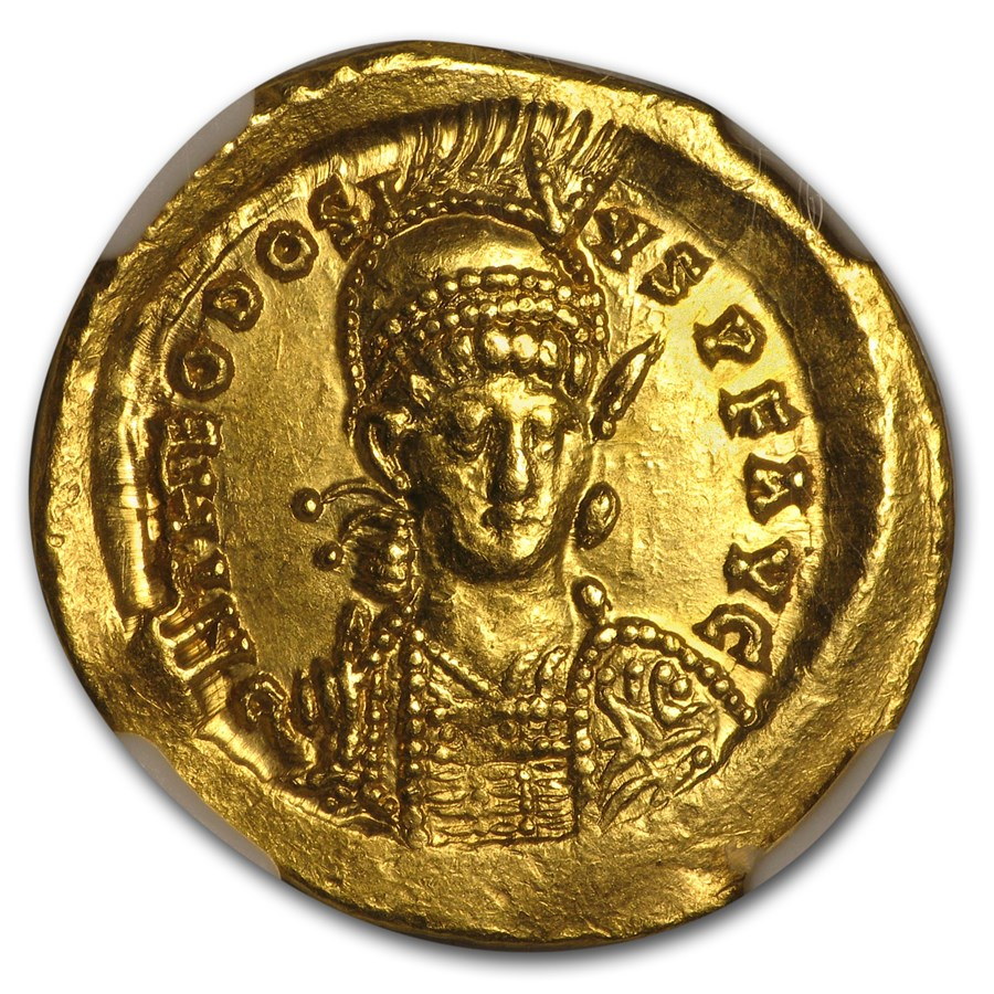 Eastern Roman Gold Solidus Theodosius II (402-450 AD) Ch AU NGC