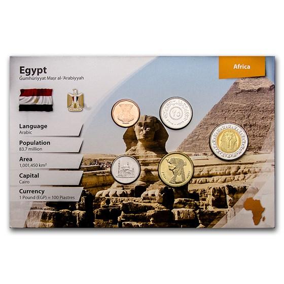 Egypt 1 Piastre-1 Pound 5-Coin Set BU (Landscape Pkg)