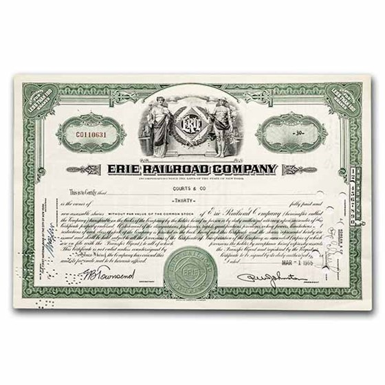 Erie Railroad Company Stock Certificate (Green)
