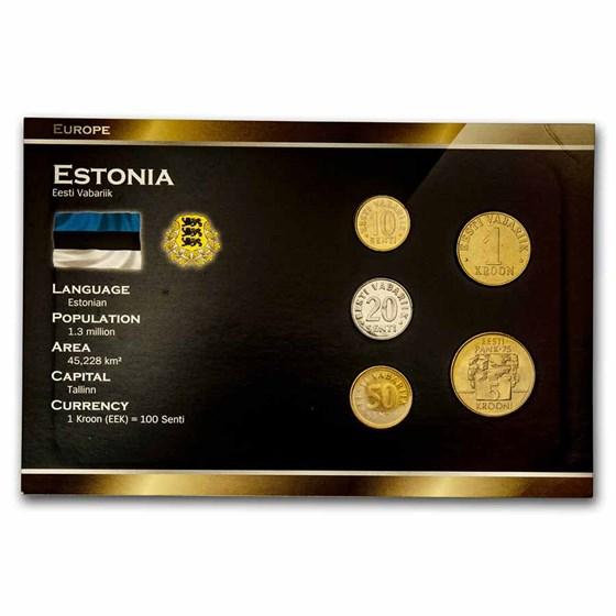 Estonia Pre-Euro 5-Coin Set BU