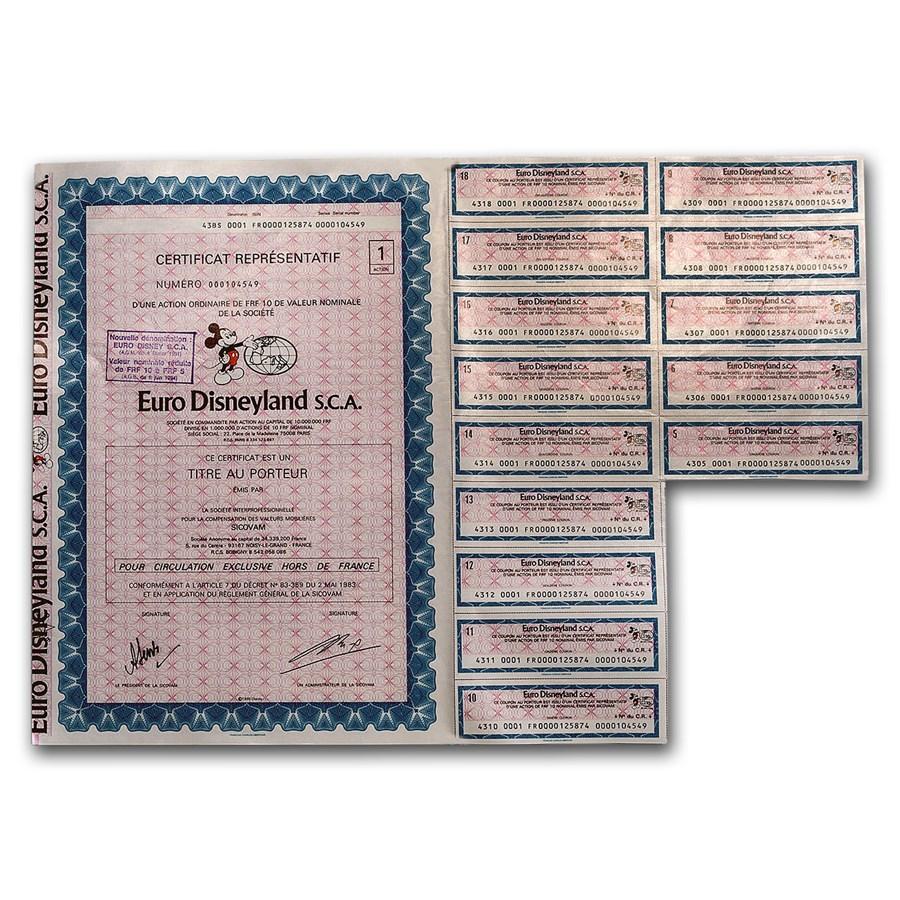 Euro Disneyland S.C.A. Stock Certificate