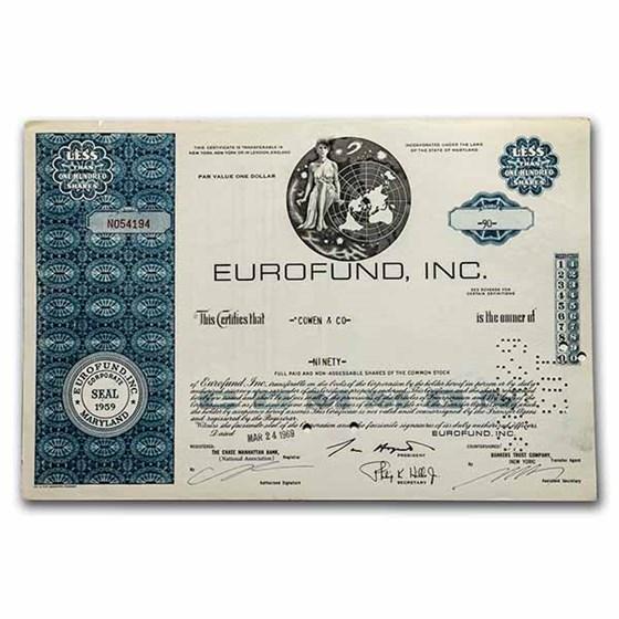 Eurofund, Inc. Stock Certificate (Blue)
