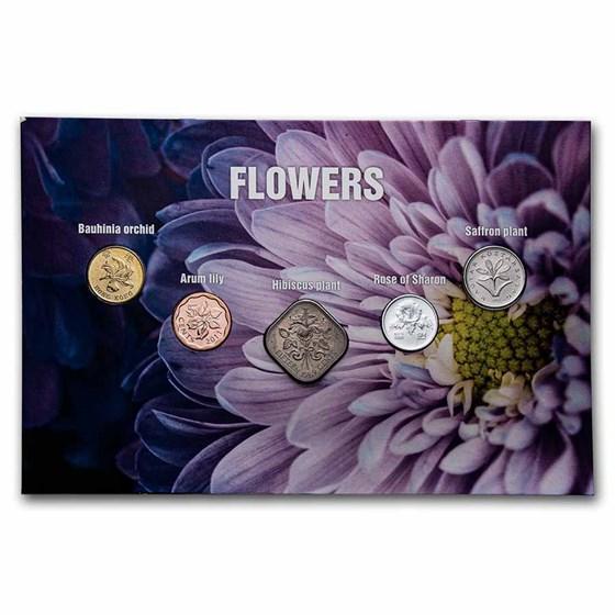 Flower Coins from Around the World 5-Coin Set BU