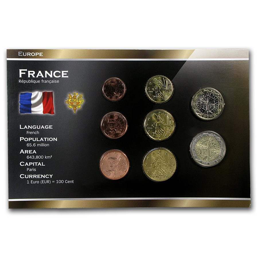 France 1 Cent-2 Euro 8-Coin Euro Set BU