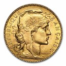France Gold 20 Francs French Rooster Coin (1899-1914) AU