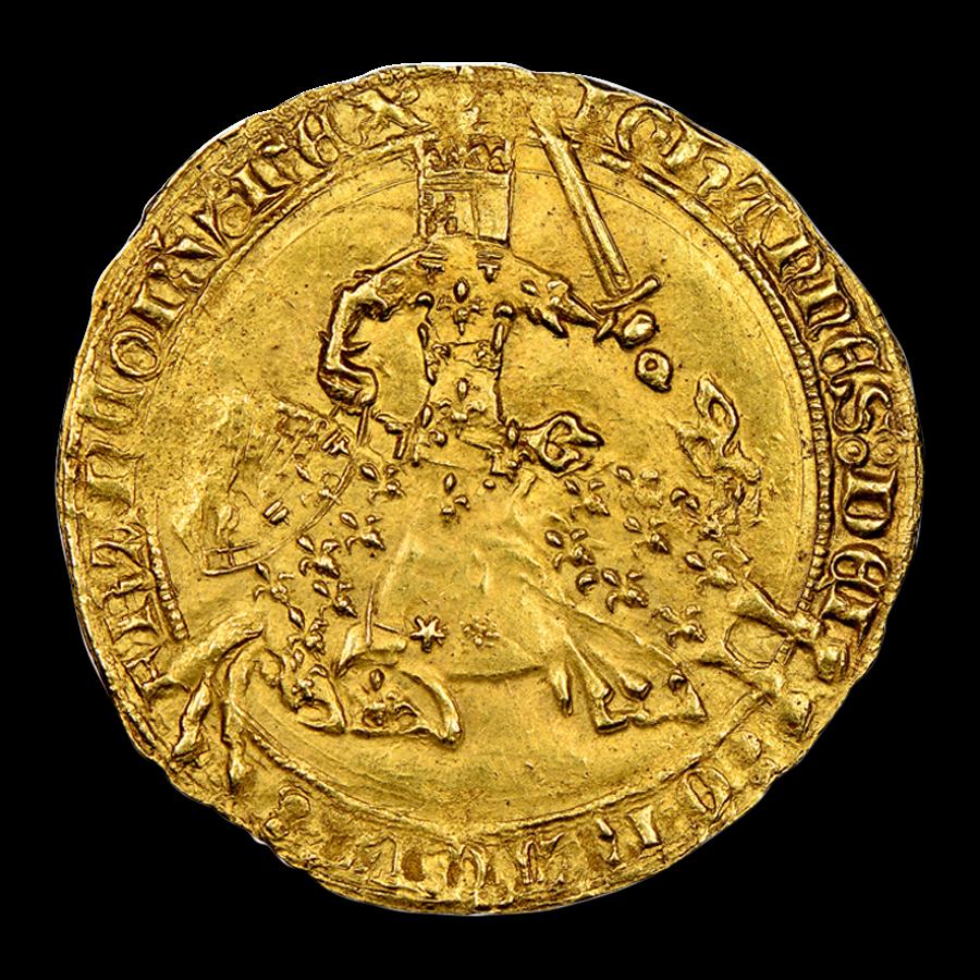 France Gold Franc a Cheval Charles V (1364-1380 AD) MS-62 NGC