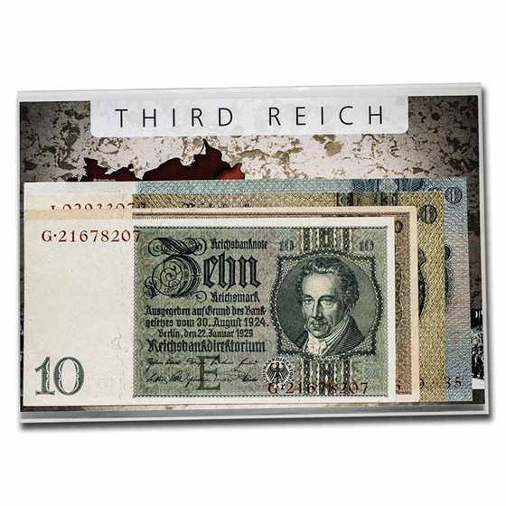 Germany Banknotes of the Third Reich 10-100 Mark 4-Banknote Set