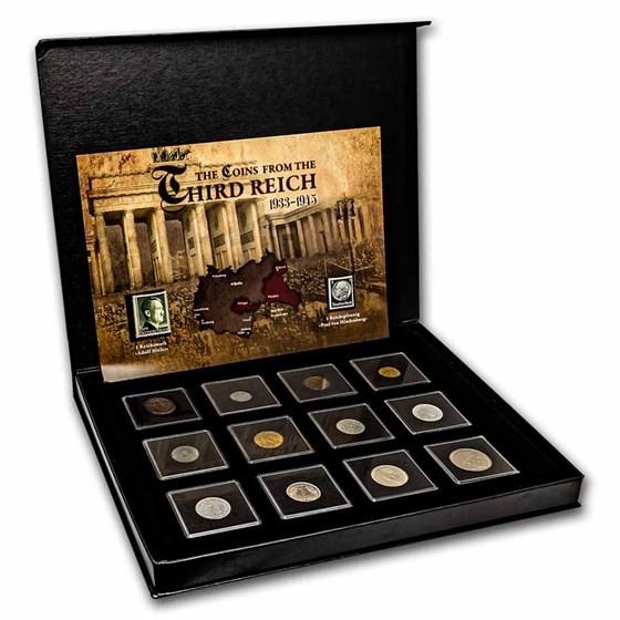 Germany Coins of the Third Reich 12-Coin + 2 Stamp Set