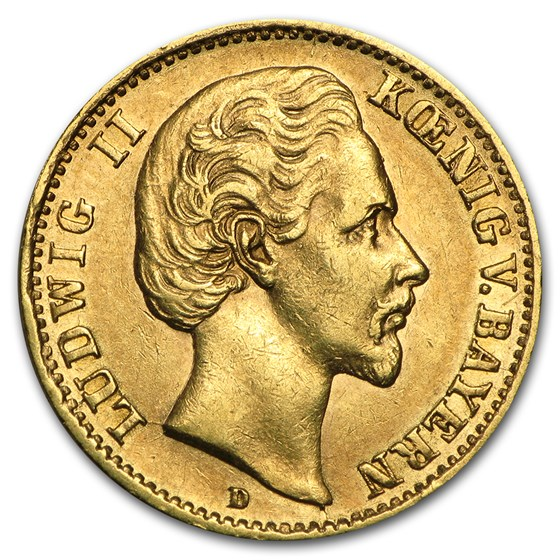 Germany Gold 10 Mark Bavaria Ludwig II (1872-1881) Avg Circ