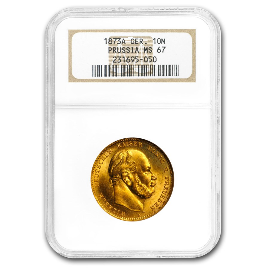 Germany Gold 10 Marks Prussia (1872-1873) MS-67 NGC