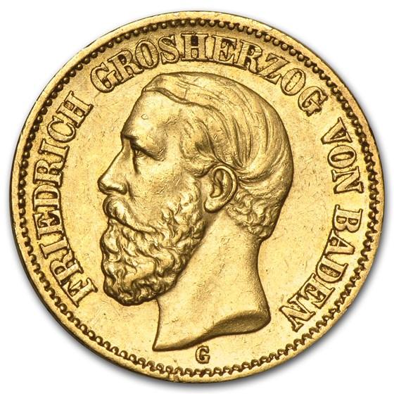 Germany Gold 20 Marks Baden Friedrich (1872-1895) Avg Circ