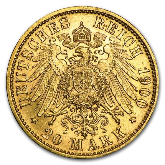 Germany Gold 20 Marks Bavaria Otto (1895-1913) AU