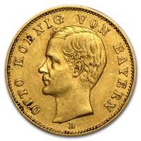 Germany Gold 20 Marks Bavaria Otto (1895-1913) Avg Circ