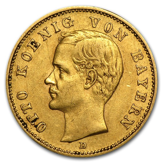 Germany Gold 20 Marks Bavaria Otto (1895-1913) Avg Circ