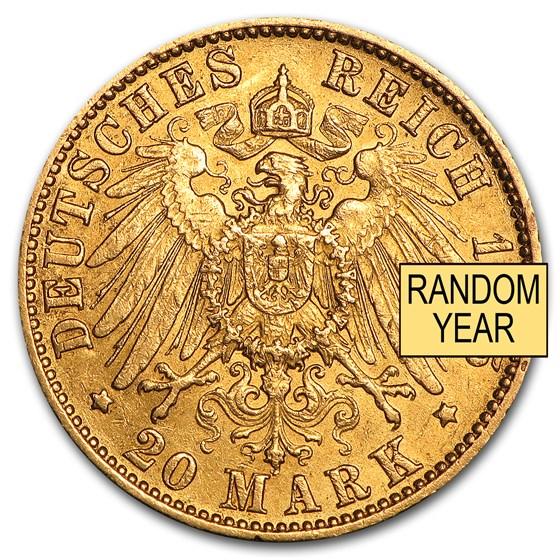 Germany Gold 20 Marks Hamburg (1875-1913) AU
