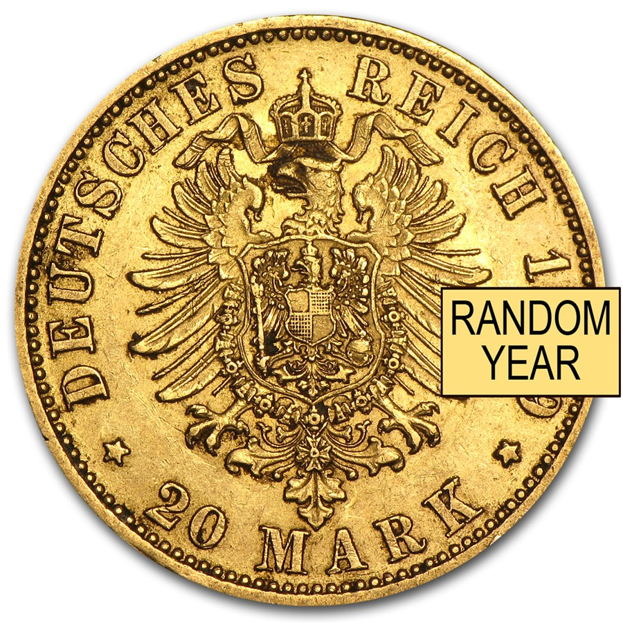 Germany Gold 20 Marks Prussia (1871-1913) Avg Circ