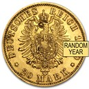 Germany Gold 20 Marks Prussia (Avg Circ) 1871-1913