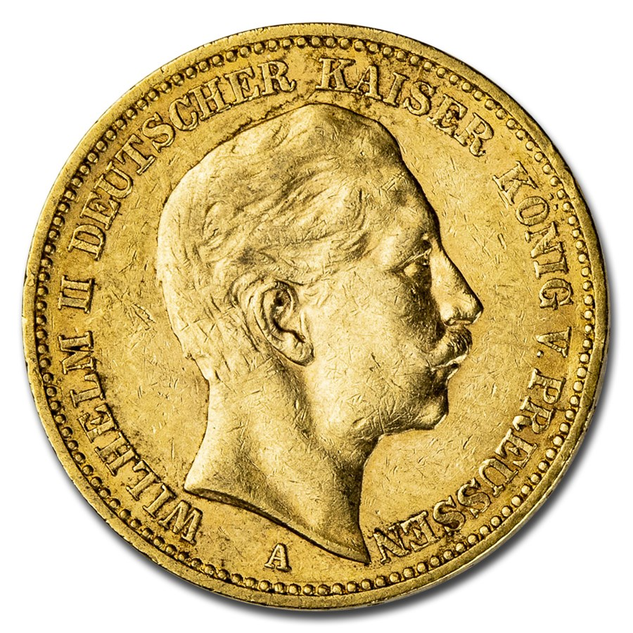 Germany Gold 20 Marks Prussia Wilhelm II (1890-1913) Avg Circ