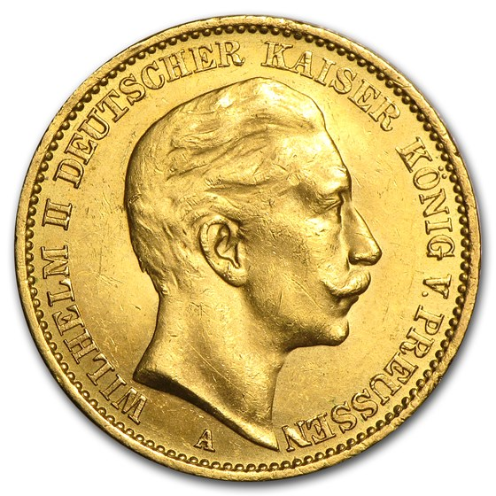 Germany Gold 20 Marks Prussia William II (1888-1913) AU