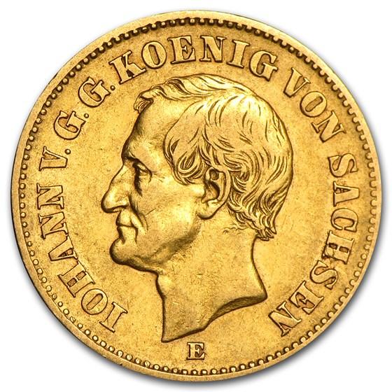 Germany Gold 20 Marks Saxony Johann (1872-1873) Avg Circ