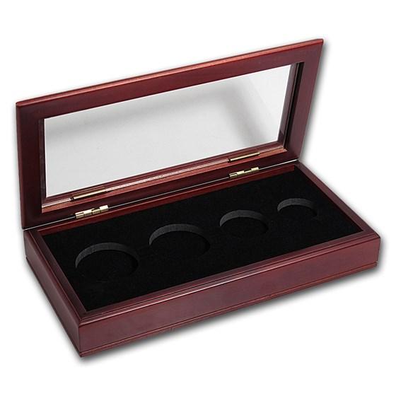 Glass Top Wood Presentation Box - 4 Coin Set (Gold Eagles)