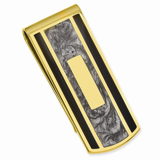 Gold Plated Black & Grey Colored Money Clip