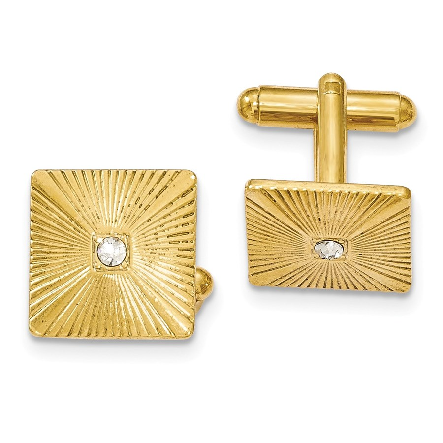 Gold-tone Textured White Crystal Square Cuff Links