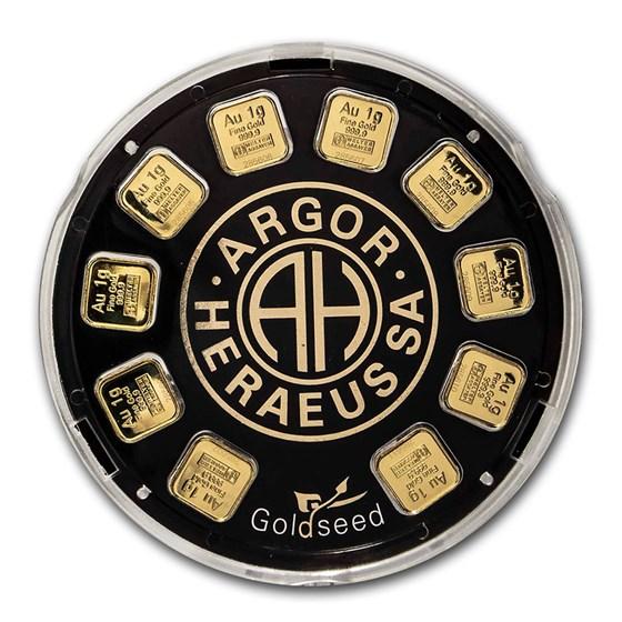 Goldseed 10x 1g Gold Bar - Argor-Heraeus (In Assay)