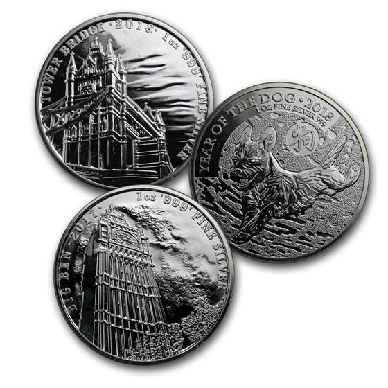 Great Britain 1 oz Silver Coin (Random Year, Abrasions)
